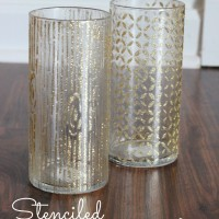 Make stenciled glitter vases with Mod Podge Rocks stencils!