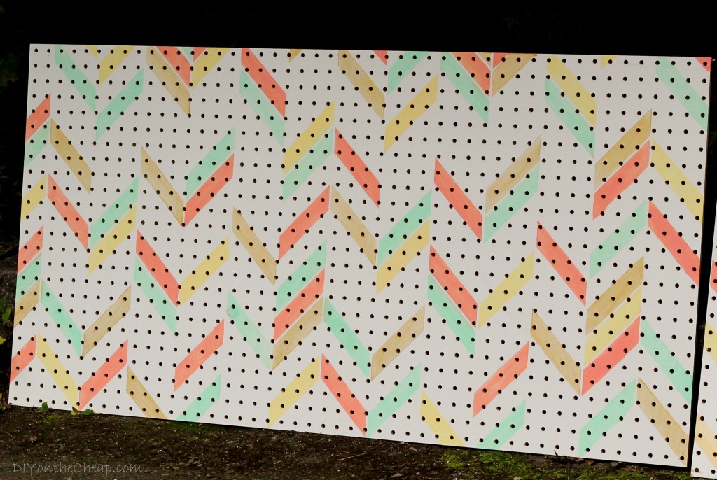 Pegboard stenciled with Herringbone Shuffle from Royal Design Studio