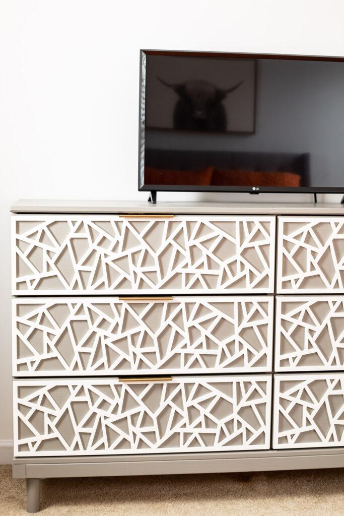 IKEA hack dresser in teen bedroom.