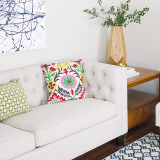 Check out this mom cave featuring a geometric wood vase from the Kirkland's Terrain Lane Collection.