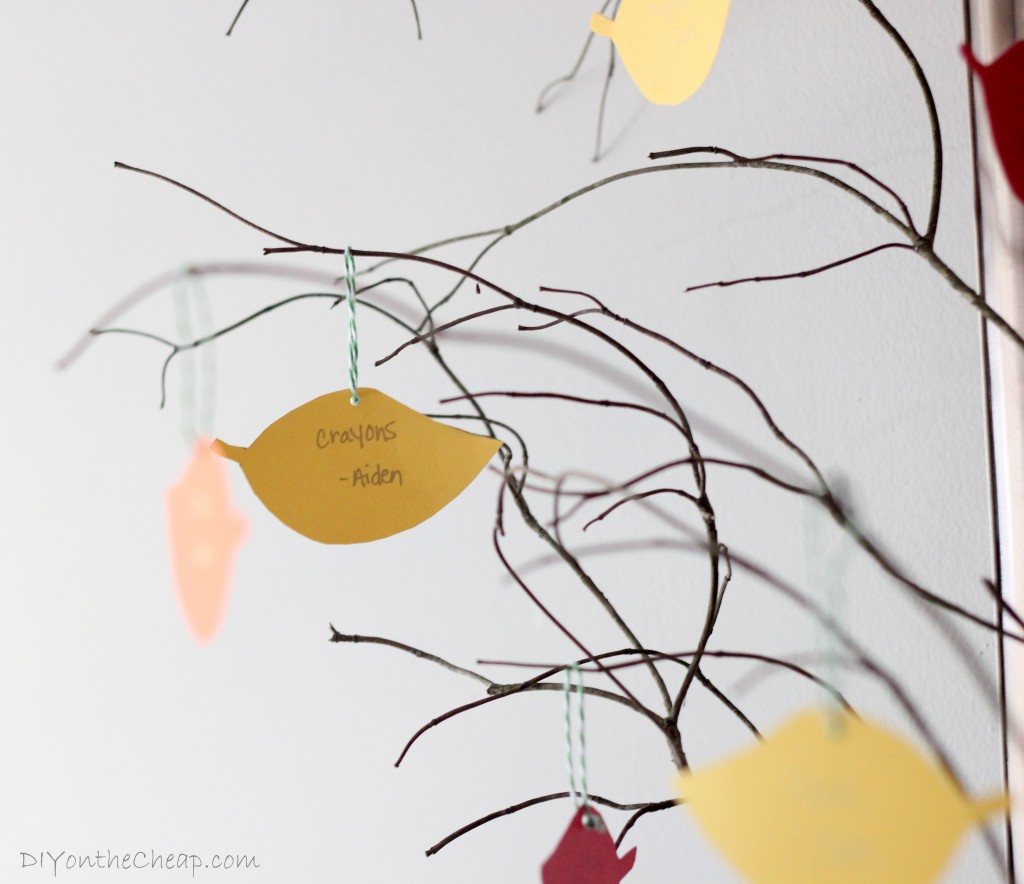 Make a Thanksgiving Tree! Write one thing you are thankful for on each leaf. This is a great project to do with your kids!