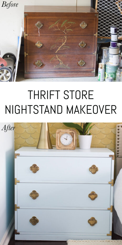 What a transformation! It's amazing what a coat of paint can do. Loving this powder blue thrift store nightstand makeover!