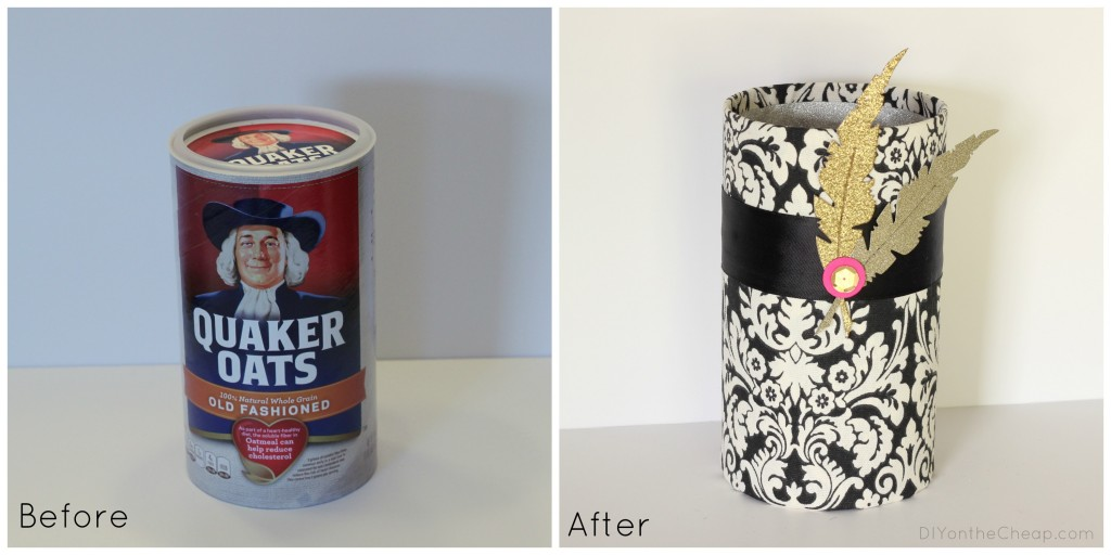 Upcycled food canisters make perfect school/office supply storage!