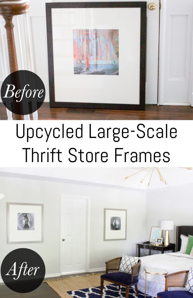 See how I saved a ton of money by making over thrift store frames and reusing the mats to create my own large-scale photo wall art.