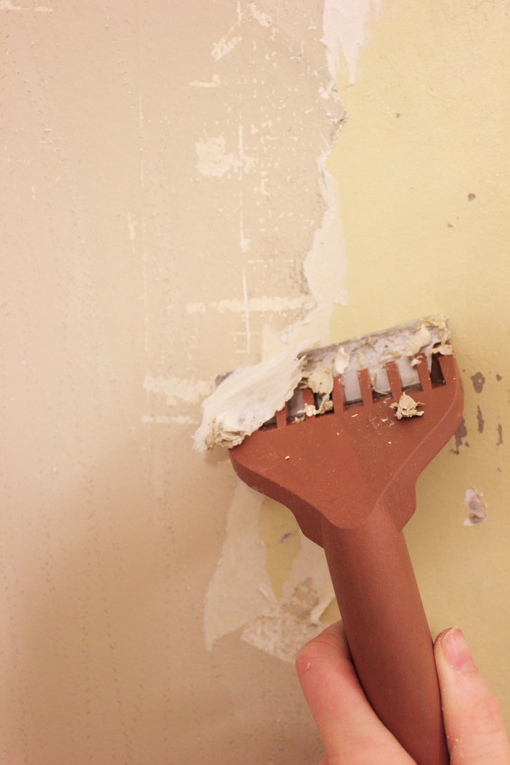 Be gentle with the scraper, as your drywall will be softer due to the moisture and can be easily damaged. (If your wall does get damaged, you can patch with ...