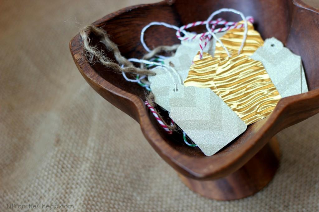 Make easy DIY Holiday Gift Tags! Tutorial via DIYontheCheap.com.