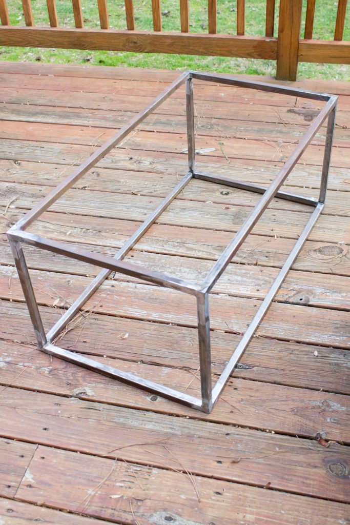 """My first welding project! Check out the tutorial for this welded steel and faux marble coffee table. (The """"marble"""" top cost $20 and is SO convincing!)"""