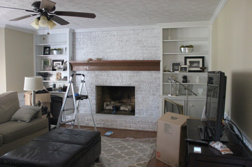 How to Whitewash a Brick Fireplace - Erin Spain