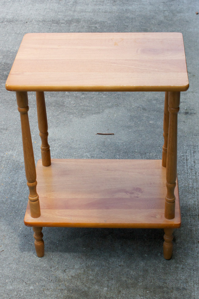 "This side table makeover with FolkArt Milk Paint is stunning! This is the before. Check out the ""after""!"