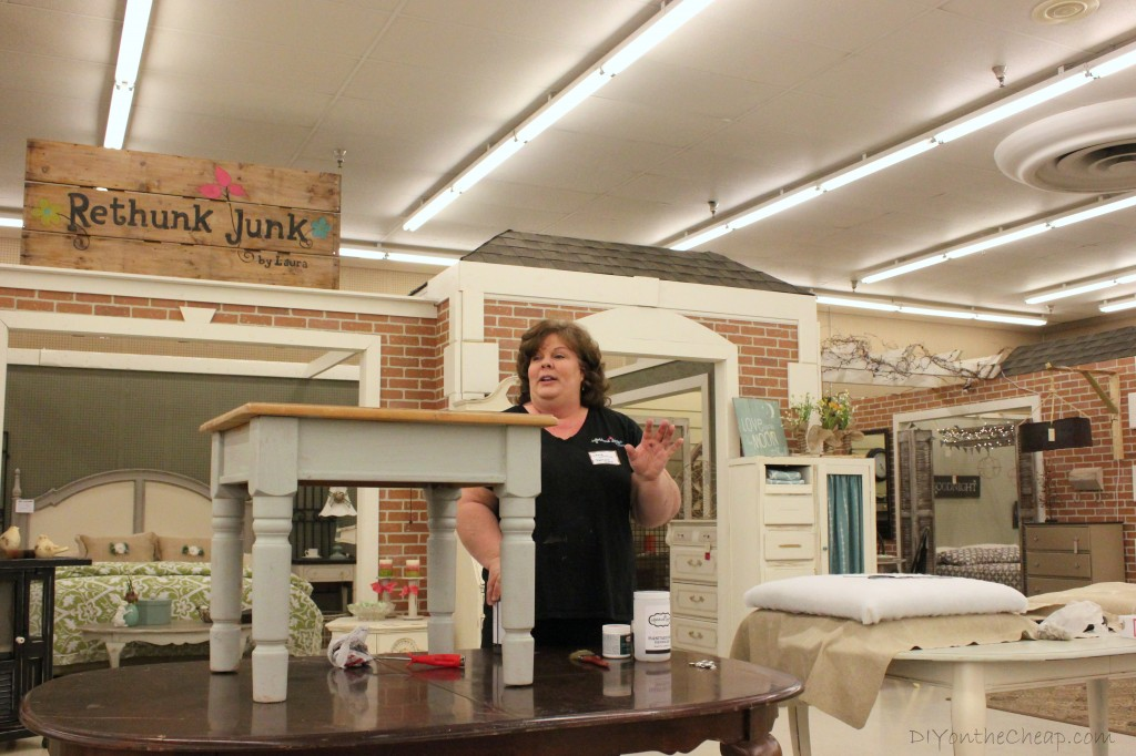 Atlanta Home & DIY Bloggers Meetup at Woodstock Market - demo from Laura at Rethunk Junk.